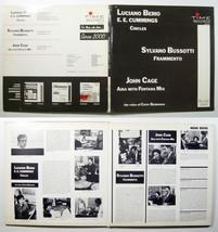 BERIO/BUSSOTTI/JOHN CAGE 1962 Time Records MONO LP ee cummings musique c... - $33.99