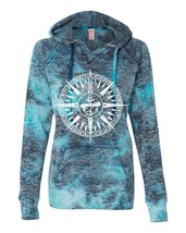 Women's V-Notch Bahama Blue Hoodie Compass - $34.99+