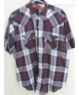 M02 ELY PLAINS black/gray/maroon plaid short-sleeve square dance shirt. ... - $9.89