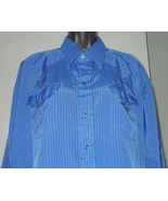 M87 PANHANDLE SLIM silky-feel black-lined medium blue sq dance shirt Sz ... - $11.87