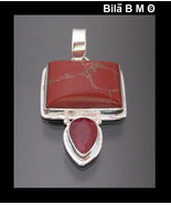 RED JASPER and ROYAL RUBY Pendant in Sterling Silver  - 1 3/4 inches - F... - £67.68 GBP