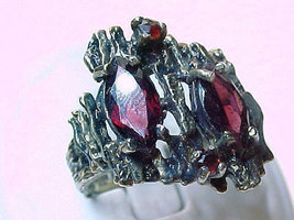 Huge GARNET Ring in GOLD over STERLING Silver - Size 6 3/4 - FREE SHIPPING - £87.12 GBP