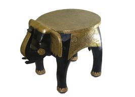 """Wooden Handicraft Brass Work Medium Stool Elephant Home Decor 12"""" - $96.99"""