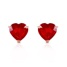 2.9 Carat 14k Solid Rose Gold Stud Earrings Natural Heart Ruby - $215.11