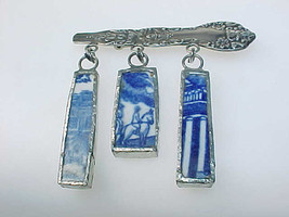STERLING Silver BROOCH Pin with Dangling PORCELAIN Blue and White Art -... - $75.00