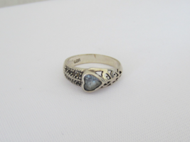 Vintage Sterling Silver Aquamarine Filigree Ring Size 8 - $18.00