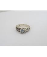 Vintage Sterling Silver Aquamarine Filigree Ring Size 8 - $18.00