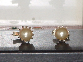 Pre-Owned Swank Faux Pearl Round Gold Tone Cuff Links  - $12.50