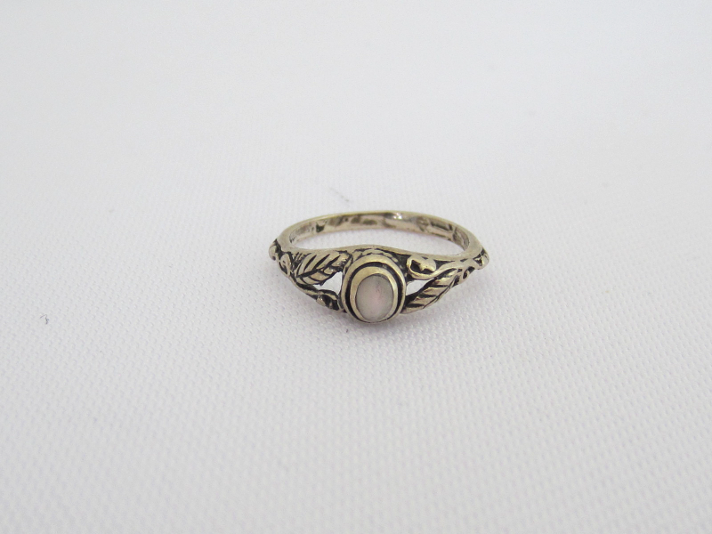 Vintage Sterling Silver Mother of Pearl Leaf Ring Size 2.5