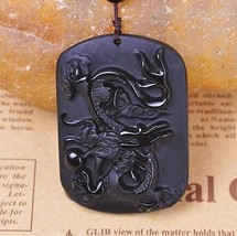 natural Obsidian stone dragon Hand carved dragon  gift charm luck pendant - $25.74