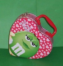 M & M's Candy Heart Shaped 3-D Tin Lunch Box Storage School Home Tote Case - $6.89