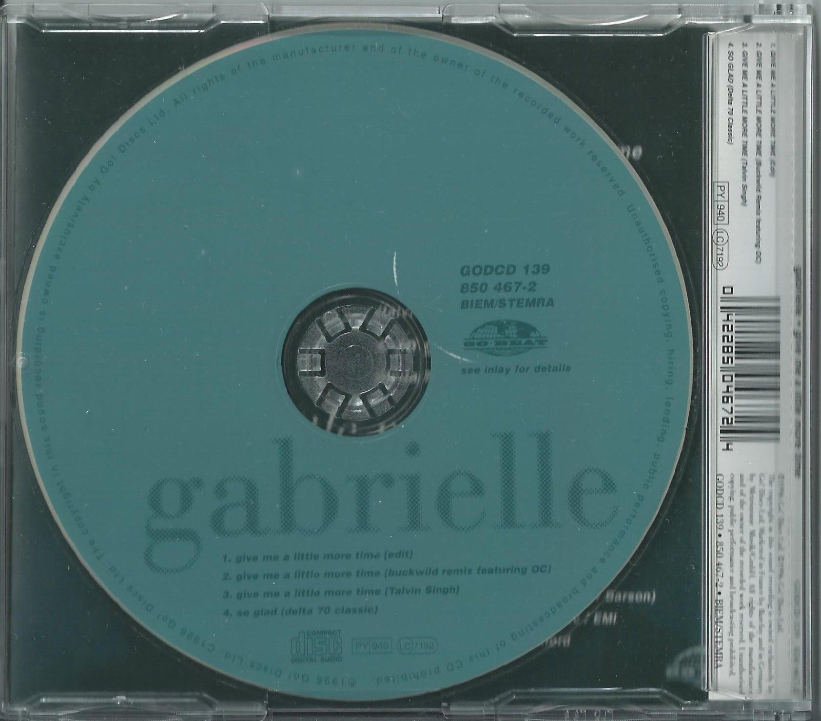 GABRIELLE - GIVE ME A LITTLE MORE TIME / SO GLAD 1996 UK 4 TRACK CD SINGLE
