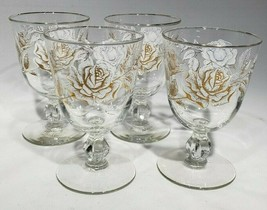 SET of 4 Libbey Rose Bouquet Water Goblets White Gold Rose Discontinued 1963 - $10.95