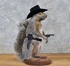 Cowboy Squirrel Taxidermy Animal Statue on Base Home or Office Gift - $249.99