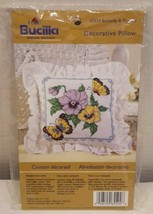 Bucilla Decorative Pillow 65524 Butterfly & Flowers Stamped Cross Stitch Kit NEW - $16.66