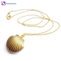 susenstone 2018 New Women Seashell Locket Pendant Gold Locket Gold Brass... - $9.74