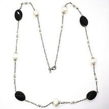 Silver 925 Necklace, Onyx Black Oval Faceted, Pearls, 80 cm, Chain Rolo ' image 2