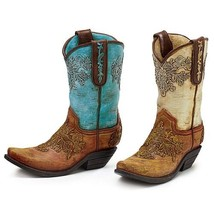 Hand-Painted Resin Cowboy Boot Vases Set of 2 - $54.13