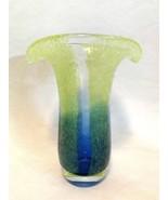 Art Glass Flower Vase Green Blue Encased Splatter Heavy Base 7.5 inches ... - $48.50