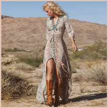 Bohemian Autumn Country Print Frock Long Sleeve Flowing Chiffon Maxi Dress - $68.95