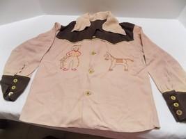 Vintage Western Little Boy's Shirt  Tan & Brown  Cowboy Home Made  FREE ... - $15.61
