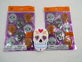 Zucchero Skulls Giorno Dei Morti Halloween 2 Confezioni Morbido Adesivi - $17.27