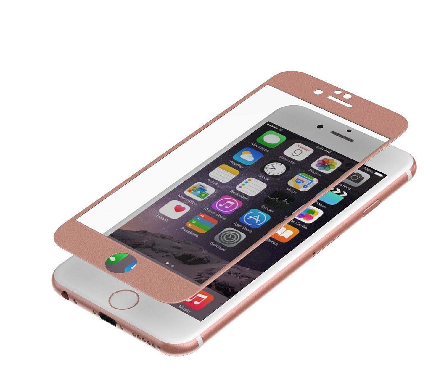 ZAGG Invisible Shield iPhone 8 7 6 Glass+ Luxe Screen Protector Rose Gold Frame