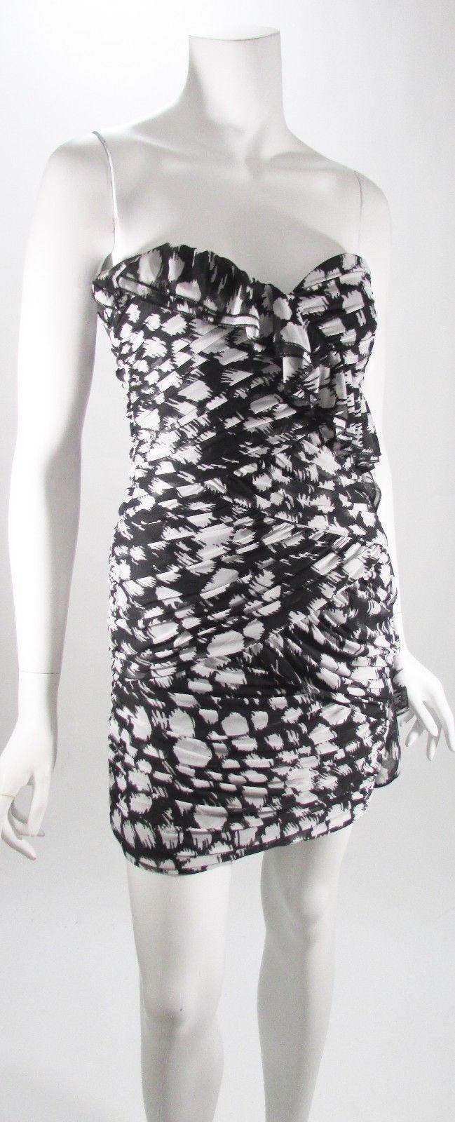 71a8df08de862 Max & Cleo Black & White Strapless Side Ruffle Mini Cocktail Dress ...