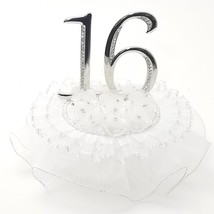"Sweet 16  cake top silver or gold ornament 7"" tall with organza and rhin... - $29.95"