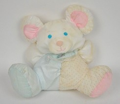 1988 Vtg FISHER PRICE Puffalumps MOUSE Blue STRIPED Dot BABY Rattle1357 ... - $29.95