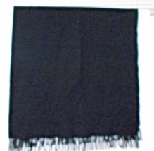 "Lands' End Black Lambs Wool Fringed Scarf Shawl 29x 72"" made in Scotland - $21.76"
