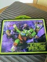 """Ninja Turtles  """"Turtle Trouble""""  We Are the Turtles of Justice Metal Lunch Box image 1"""