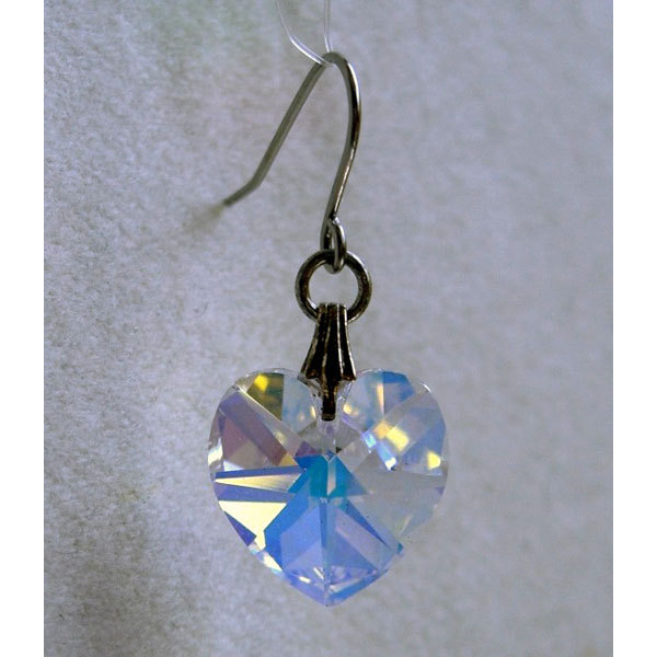 14mm Faceted Crystal Heart Earrings