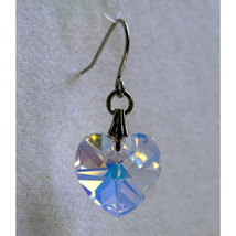 14mm Faceted Crystal Heart Earrings image 1