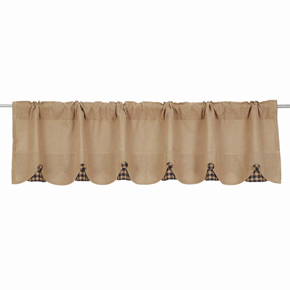 BURLAP NATURAL Valance w/Black Check - 16x72 - Country Farmhouse - VHC Brands
