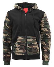 MX USA Men's Army Camo Zip Up Sherpa Hoodie Fleece Hunting Sweater Jacket image 5