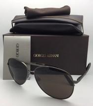New GIORGIO ARMANI Sunglasses AR 6030 3122/73 Gunmetal Aviator w/ Brown ... - $249.95