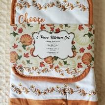 Kitchen Linens Set, 6pc, Choose to be Grateful, Pumpkins Orange Thanksgiving image 3