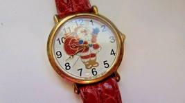 Vtg Watch Christmas Santa-Glitter Red Band-Second Hand-Works- - $5.35