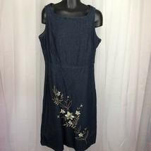 Liz Claiborne Dark Wash Denim Dress Womens Size 10 Sleeveless Embroidery... - $25.71