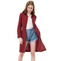 Dioufond Women Long Shirts Fashion Red Plaid Blouses Long Shirt Slim Fit Women C - $35.07+