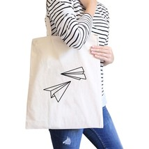 Paper Airplane Natural Canvas Bag Cute Graphic Printed Eco Bags - $13.99