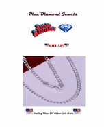 "24"" Cuban Link Chain Silver Plate 4MM  Men/Women US SELLER - $8.95"