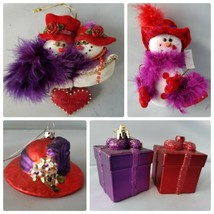 Lot of 5 Red Hat Society Christmas Tree Ornaments Snowman Presents Hat F... - $12.91