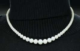 Crown Trifari White Milky Glass Graduated Bead Beaded Rhinestone Clasp Choker - $49.49