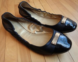 Coach Darsi Womens Mismatch 7.5 8.5 Ballet Flats Black Cap Toe Patent Le... - $19.34