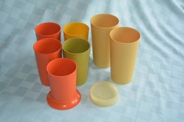 7 vintage Tupperware tumblers sippy cups 1 lid harvest colors 8-10 oz - $10.66