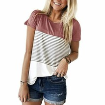 YunJey Round Neck Triple Color Block Stripe T-Shirt - $28.32