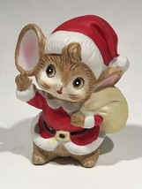 Vintage Ceramic Brown Christmas Mouse In Santa Hat & Coat Holding Toy Ba... - $9.85