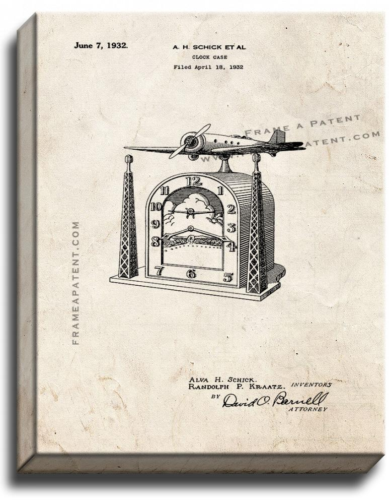 Primary image for Clock Case Patent Print Old Look on Canvas